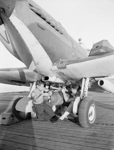 THE KHEDIVE'S SEAFIRE III'S. AUGUST 1944, ON BOARD THE ESCORT CARRIER HMS KHEDIVE SHOWING SEAFIRE III'S DURING SOUTH OF FRANCE OPERATIONS.