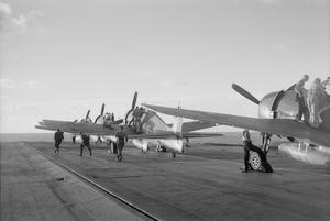 WITH HMS INDOMITABLE. AUGUST 1944, ON BOARD THE AIRCRAFT CARRIER.