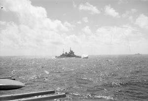 WITH HMS INDOMITABLE. AUGUST 1944, ON BOARD THE AIRCRAFT CARRIER AS SHE RETURNED FROM THE FLEET AIR ARM RAID ON PADANG, SUMATRA.