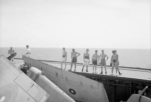 WITH THE EASTERN FLEET ON BOARD HMS INDOMITABLE, AUGUST 1944.