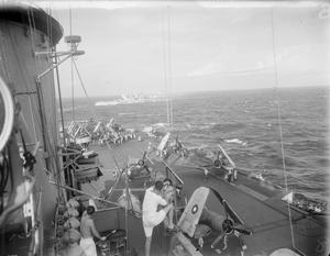 WITH THE ESCORT CARRIER HMS VICTORIOUS DURING THE SIGLI RAID. 18 SEPTEMBER 1944, INDIAN OCEAN, DURING THE CARRIER-BORNE AIR ATTACK AGAINST THE JAPANESE REPAIR AND MAINTENANCE CENTRE AT SIGLI, SUMATRA.