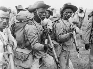"""""""JUNGLE COMMANDO"""" TROOPS LEAVE AFRICA FOR BURMA, C. 9 MARCH 1945"""