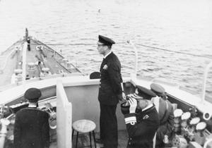 SERVICE OF LIEUTENANT COMMANDER R TOSSWILL IN HMS BELFAST, 1943-1944.