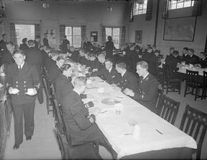 AT HMS MACAW, FLEET AIR ARM STATION. 9 AND 10 MAY 1944, BOOTLE, CUMBERLAND. HMS MACAW IS A FLEET AIR ARM STATION WHERE NEW PILOTS ASSEMBLE AFTER THEIR PRELIMINARY FLYING TRAINING OVERSEAS ON THEIR WAY TO ADVANCED NAVAL FLYING UNITS IN BRITAIN. WHILE STATIONED THERE EVERY CADET IS GIVEN AN INTERVIEW BY A BOARD OF SENIOR NAVAL OFFICERS TO DECIDE HIS FUTURE STATUS.