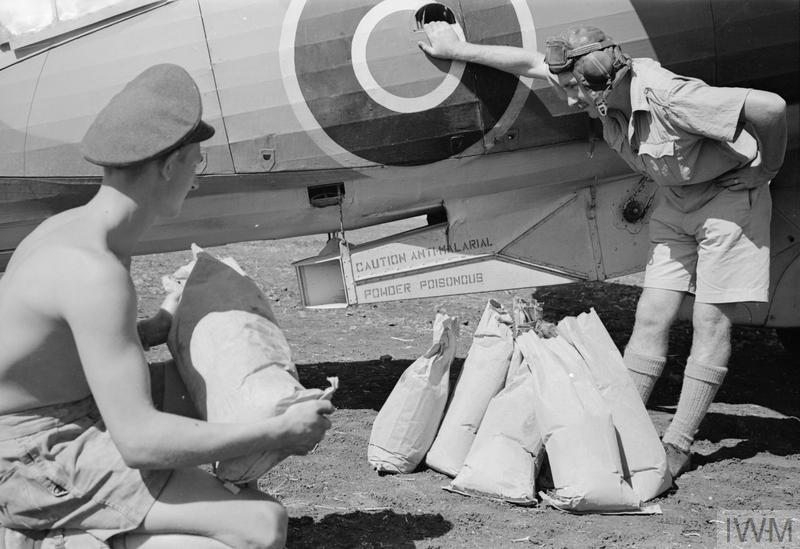 Development of DDT; RAF airmen prepare to load bags of DDT for spraying by aircraft, Sicily, 1943. DDT was a powerful insecticide used to control typhus and malaria. Its development was one of the most important scientific advances of the Second World War, as these diseases affected civilians as well as soldiers.