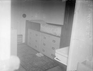 STEEL FURNITURE IN HM SHIPS. 6 JANUARY 1945, ON BOARD HMS VENERABLE, BIRKENHEAD. SOME OF THE STEEL FURNITURE MADE BY MESSRS SANKEY SHELDON & CO FOR THE NAVY.
