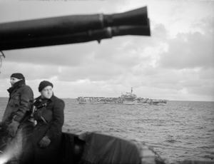 FLEET AIR ARM STRIKE AGAIN AT ENEMY SHIPPING. 9 DECEMBER 1944, ON BOARD THE ESCORT CARRIER HMS TRUMPETER. CARRIER-BORNE AIRCRAFT OF THE ROYAL NAVY, OPERATING WITH SHIPS OF THE HOME FLEET, CARRIED OUT STRIKES AGAINST ENEMY SHIPPING OFF THE COAST OF NORWAY. FIREFLY AND WILDCAT AIRCRAFT DAMAGED AND SET ABLAZE TWO SMALL SHIPS NORTH OF HAUGESUND, AND IN THE SAME AREA TWO ENEMY CARGO BARGES WERE DAMAGED.