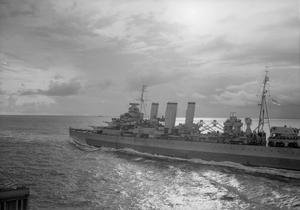 BOMBARDMENT OF CAR NICOBAR. 17 TO 19 OCTOBER 1944, ON BOARD HMS SUFFOLK DURING THE BOMBARDMENT OF THE JAPANESE HELD ISLAND OF CAR NICOBAR SOUTH OF THE ANDAMAN ISLANDS BY THE ROYAL NAVY.
