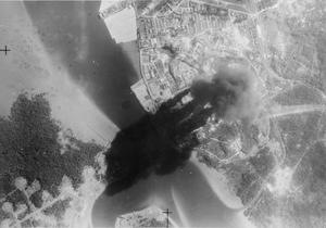 FLEET AIR ARM ATTACKS JAPANESE OIL REFINERY. 4 JANUARY 1945, BRITISH CARRIER-BORNE AIRCRAFT OF THE FLEET AIR ARM DELIVERED A VERY ACCURATE ATTACK AGAINST THE ENEMY OIL REFINERY AT PAGKALAN BRANDAN IN SUMATRA.