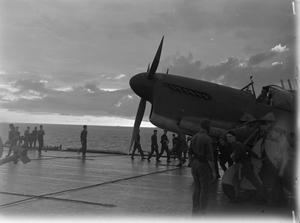 FLEET AIR ARM ATTACKS JAPANESE OIL REFINERY. 4 JANUARY 1945, ON BOARD THE AIRCRAFT CARRIER HMS INDEFATIGABLE, DURING THE CARRIER-BORNE AIR STRIKE ON THE JAPANESE OIL REFINERY AT PANGKALAN BRANDAN, SUMATRA.