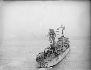 HMS SHIKARI, BRITISH S CLASS DESTROYER AND SUBMARINE ESCORT. 16 FEBRUARY, MERSEY, LIVERPOOL.