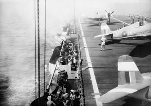 WITH AN ESCORT CARRIER IN THE EAST. MARCH 1945, ON BOARD HMS AMEER.