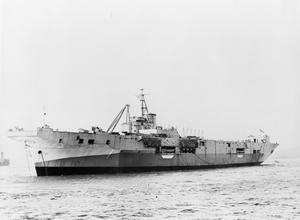 HMS PIONEER, AIRCRAFT MAINTENANCE SHIP. FEBRUARY 1945.