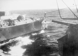 WITH THE BRITISH PACIFIC FLEET CARRIER HMS SMITER AT SEA. MAY 1945, DURING THE OPERATIONS AGAINST SAKISHIMA IN SUPPORT OF THE AMERICAN LANDING ON OKINAWA.
