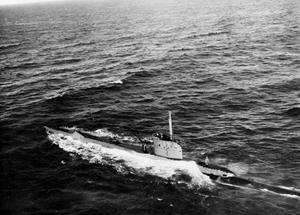 HM SUBMARINE UNRULY, BRITISH UNITY CLASS SUBMARINE. FEBRUARY 1945, AT SEA, FROM THE AIR.