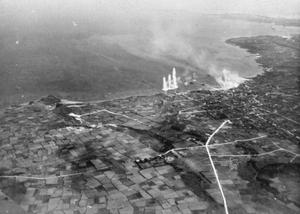 FLEET AIR ARM ATTACKS THE SAKISHIMAS. MAY 1945, AERIAL PHOTOGRAPHS DURING THE NAVAL AIR ATTACK BY THE BRITISH PACIFIC FLEET TASK FORCE ON THE SAKISHIMA ISLANDS IN SUPPORT OF THE US LANDING IN OKINAWA.