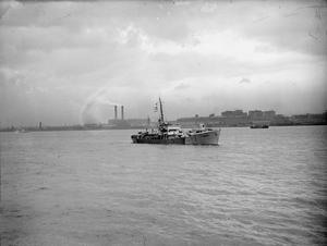 HMT GUARDSMAN, BRITISH MILITARY CLASS TRAWLER. 31 MAY AND 1 JUNE 1945, LIVERPOOL DOCKS.