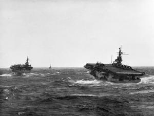 BRITISH NAVAL TASK FORCE IN ACTION OFF SUMATRA. 12 TO 18 APRIL 1945, ON BOARD THE ESCORT CARRIER HMS KHEDIVE DURING AN OPERATION OFF THE WEST SUMATRA COAST WHERE A TASK FORCE OF THE EAST INDIES FLEET REMAINED FOR A WEEK 'SOFTENING UP' A VARIETY OF JAPANESE TARGETS.