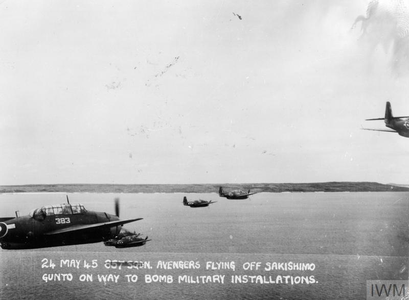 BRITISH PACIFIC FLEET PLANES OVER SAKISHIMA ISLANDS. 24 MAY 1945, OVER THE SAKASHIMA GUNTO, IN THE RYUKYUS.