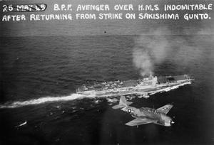 BRITISH PACIFIC FLEET IN SAKASHIMA ATTACK. MAY 1945. PART OF THE BRITISH PACIFIC FLEET'S OPERATION IN SUPPORT OF THE AMERICAN LANDING IN OKINAWA.