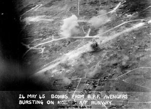 BRITISH PACIFIC FLEET ATTACK ON SAKISHIMA. 24 MAY 1945, AERIAL PHOTOGRAPHS FROM ATTACKING AIRCRAFT OF THE BRITISH PACIFIC FLEET OPERATING IN SUPPORT OF THE LANDINGS AT OKINAWA.