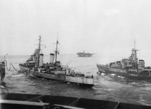 WITH THE BRITISH PACIFIC FLEET. JULY 1945, ON BOARD HMS FORMIDABLE, DURING BRITISH PACIFIC FLEET AIR OPERATIONS BEFORE THE JAPANESE SURRENDER.