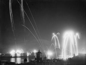 HONG KONG CELEBRATES FREEDOM WITH FIREWORKS. SEPTEMBER 1945.