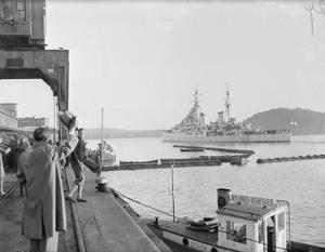 REAR ADMIRAL RITCHIE LEAVES NORWAY. 15 OCTOBER 1945, OSLO, WHEN ADMIRAL S S M RITCHIE, CB, RN, HAULED DOWN HIS FLAG AS FLAG OFFICER NORWAY. AFTER A FAREWELL DINNER ATTENDED BY THE CROWN PRINCE AND PRINCESS, REAR ADMIRAL RITCHIE LEFT FOR THE UNITED KINGDOM IN HMS DIADEM.
