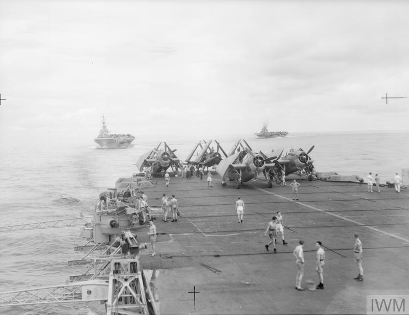 WITH THE BRITISH PACIFIC FLEET. 10 JULY 1945, ON BOARD HM AIRCRAFT CARRIER FORMIDABLE. BRITISH PACIFIC FLEET OPERATIONS JUST BEFORE THE JAPANESE COLLAPSE.