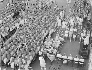 HMS INDOMITABLE REPATRIATES CIVILIAN INTERNEES FROM HONG KONG. OCTOBER 1945, ON BOARD THE AIRCRAFT CARRIER HMS INDOMITABLE WHEN SHE SAILED FOR AUSTRALIA WITH A NUMBER OF CIVILIAN INTERNEES FROM HONG KONG.