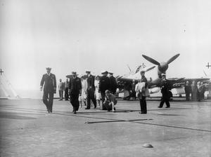 ROYAL TOUR TO SOUTH AFRICA. JANUARY 1946, ON BOARD THE AIRCRAFT CARRIER HMS IMPLACABLE DURING THE OUTWARD JOURNEY TO SOUTH AFRICA. HMS IMPLACABLE WAS PART OF THE NAVAL ESCORT DURING THE ROYAL VOYAGE TO SOUTH AFRICA.
