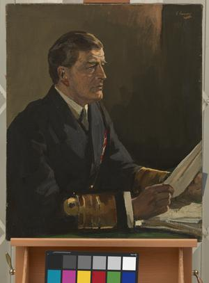"Study for Admiral Sir David Beatty, GCB Reading the Terms of the Armistice to the German Delegates, ""HMS Queen Elizabeth"", Rosyth, November 16th, 1918"