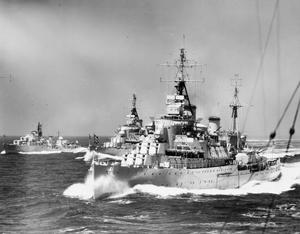MEDITERRANEAN FLEET ESCORTS HER MAJESTY THE QUEEN. MAY 1954, AT SEA, ON PASSAGE FROM TOBRUK TO MALTA.