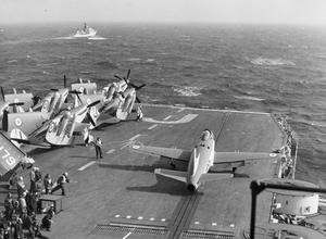 EXERCISE MARINER. SEPTEMBER 1953, ON BOARD HMS EAGLE, IN NORTHERN WATERS DURING EXERCISE MARINER. HM SHIPS AND WARSHIPS OF OTHER NATIONS OPERATING WITH THE NATO FLEET FOR THE EXERCISE EXPERIENCED SEVERE WEATHER.