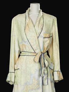 Silk map dressing gown