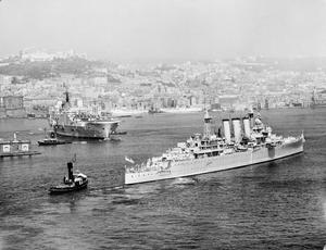 HMS EAGLE AND HMS CUMBERLAND VISIT NAPLES. 5 AUGUST 1955, NAPLES HARBOUR. THE WARSHIPS VISITED NAPLES FOR A WEEKS OPERATIONAL VISIT.