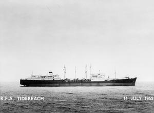 NEW TANKER FOR THE NAVY. 11 JULY 1955, THE TANKER RFA TIDEREACH, A REPLENISHMENT TANKER ACCEPTED BY THE ROYAL NAVY FROM SWAN HUNTER AND RICHARDSON, WALLSEND-ON-TYNE.