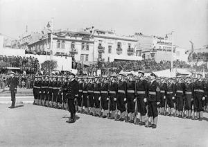 BRITISH NAVY HONOURS GREEK REGENT. 27 FEBRUARY 1945, SALONIKA.