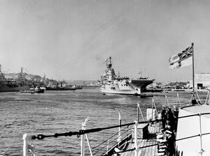 SHIPS OF THE COMBINED HOME AND MEDITERRANEAN FLEETS LEAVE MALTA FOR COMBINED FLEET EXERCISES IN THE MEDITERRANEAN. 22 MARCH 1952, ON BOARD THE CRUISER HMS LIVERPOOL, FLAGSHIP OF C IN C MEDITERRANEAN.