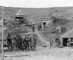A dressing station on the Salonika Front in 1917. Walking wounded from 77th Brigade are being assisted into an ambulance by Royal Army Medical Corps orderlies. THE MACEDONIAN CAMPAIGN, 1915-1918