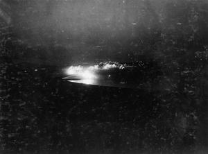 A rare night view of a British bombardment at Doiran viewed from British positions in the hills close to the southern shore of Lake Doiran. THE BRITISH ARMY IN THE SALONIKA CAMPAIGN, 1915-1918