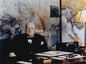 WINSTON CHURCHILL AT THE CABINET WAR ROOMS, MAY 1945
