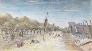The Invasion of Sicily: Troops and Vehicles Embarking on Invasion Craft at 'Charlie' Beach near Santa Teresa di Riva, Sicily, 3 September 1943