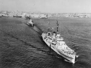 MEDITERRANEAN FLEET AND COMMONWEALTH SHIPS SET OFF ON MEDITERRANEAN FLEET SUMMER CRUISE. 17 JULY 1953, GRAND HARBOUR, MALTA. SHIPS OF THE NEW ZEALAND AND INDIAN NAVIES WHICH TOOK PART IN THE CORONATION NAVAL REVIEW TOOK PART IN THE CRUISE TO GREEK AND TURKISH PORTS.