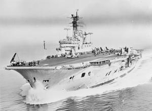 HMS ARK ROYAL, BRITISH AIRCRAFT CARRIER. MARCH 1957, AT SEA IN THE MEDITERRANEAN.