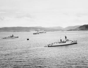 "HM SHIPS ASSEMBLED FOR EXERCISE ""STRIKEBACK"". 16 SEPTEMBER 1957, IN THE CLYDE BEFORE THE START OF THE NATO EXERCISE STRIKEBACK TO TAKE PLACE IN THE NORTH ATLANTIC."