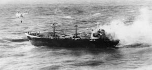 NAVY AIDS BURNING GERMAN SHIP. 11 MARCH 1959, AT SEA OFF START POINT, DEVON. THE 999 TON GERMAN COASTER VORMANN RASS ABLAZE AT SEA. EIGHT OF THE COASTERS CREW WERE TAKEN OFF BY THE FRENCH TRAWLER NOTRE DAME DE AGNES. HM MINESWEEPERS ACUTE AND JEWEL WENT TO THE ASSISTANCE OF THE STRICKEN COASTER AND HELICOPTERS FROM CULDROSE WERE ALSO USED.