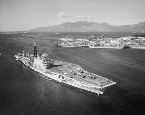 HMS HERMES AT SUBIC BAY, PHILIPPINES. 18 JANUARY 1961.