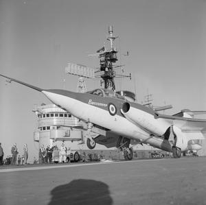 BUCCANEER TRIALS ON HMS ARK ROYAL. FEBRUARY 1961, DURING TRIALS OF THE BLACKBURN BUCCANEER, TWO SEAT ATOMIC STRIKE AIRCRAFT, IN THE ARK ROYAL,