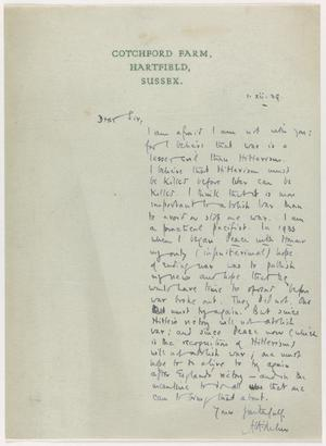 Letter from A A Milne Stating his Views on the War, December 1939